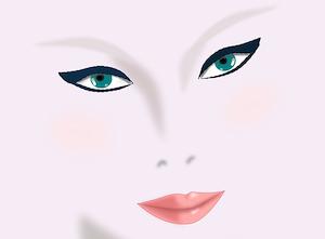 女性の化粧(アイライン)