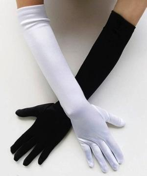 サテン生地の白色の手袋