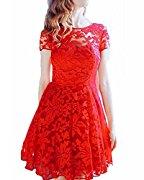 レディース レース フォーマル 半袖 ひざ丈 披露宴 パーティー 結婚式 ワンピース ドレス