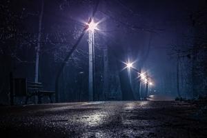 公園の夜道
