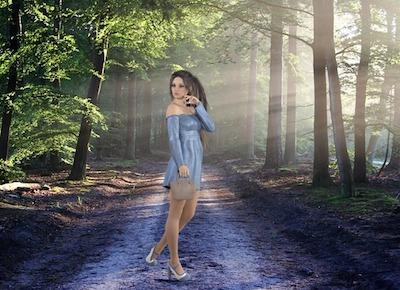 森の道で野外露出女装オナニー